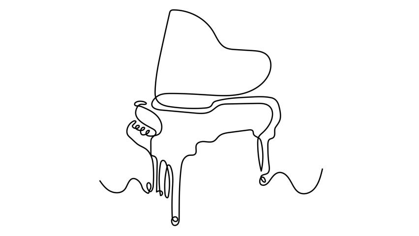 Piano continuous one line vector drawing. Pianoforte hand drawn silhouette clipart. Acoustic musical instrument sketch. Grand piano minimalistic contour illustration. Isolated linear design element | Shutterstock HD Video #1064105467