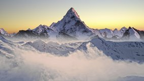 The Himalayas Everest Beautiful Mountain Range Winter Inspiring Landscape Snow Cold Sea Of Clouds Aerial Flight Footage Over Peaks Epic Panorama Nature Success Summit Top Peak 4K