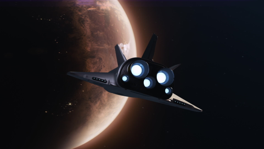 the space shuttle flies towards the planet Mars. concept of the future development of space Royalty-Free Stock Footage #1064131891