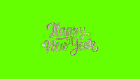 Wording Happy New Year Greetings on Green Screen Background 4K Animation. New year Background