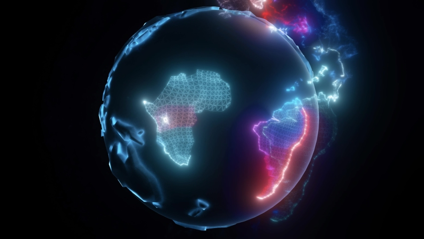 Earth Globe Hologram With Particles. High quality 4k footage   Shutterstock HD Video #1064181697