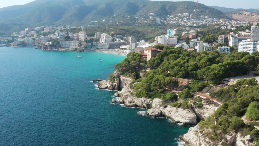 Aerial shot of beautiful Palma in Spain | Shutterstock HD Video #1064208241