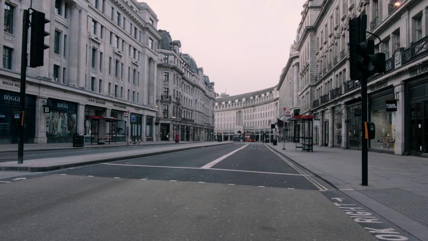 LONDON, ENGLAND, UK – 24 MAY 2020: Lockdown London, 138 Regent St, Soho, London, during coronavirus pandemic, ghost town  | Shutterstock HD Video #1064222860