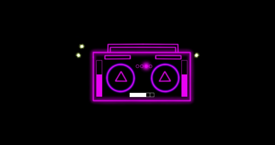 Neon 2D animation.  music technology glowing animation   Shutterstock HD Video #1064294854
