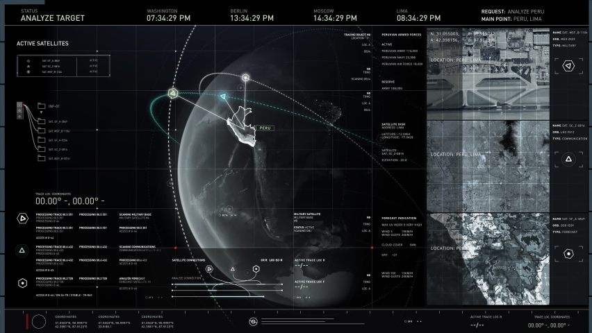 Using the newest spying tool. Searching for satellite signal that is not protected well. Peru is analyzed. The three of them were accessed. The live footage is broadcasted. Computer User Interface. | Shutterstock HD Video #1064351800