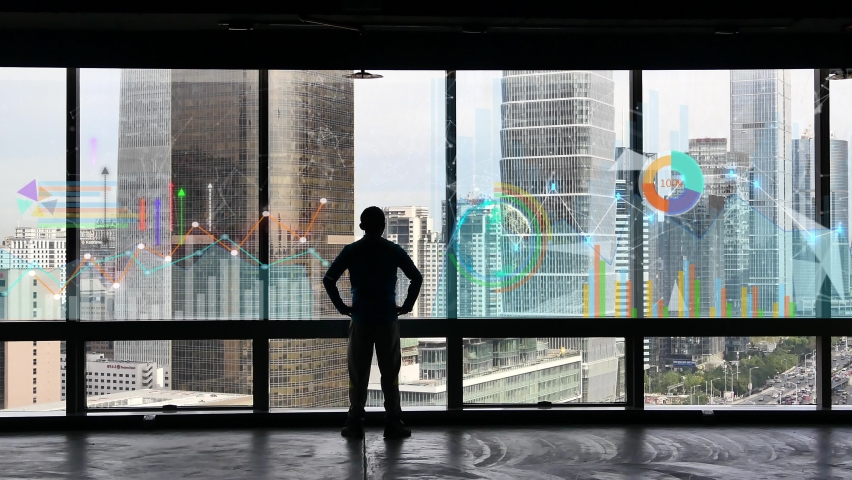 4k businessman back raising victory arm,Overlooking the urban from window.financial chart,Business tech digital Data trend hud Graph,Changing Economic node line,Digital Tableau of Stock Market Values. Royalty-Free Stock Footage #1064402461