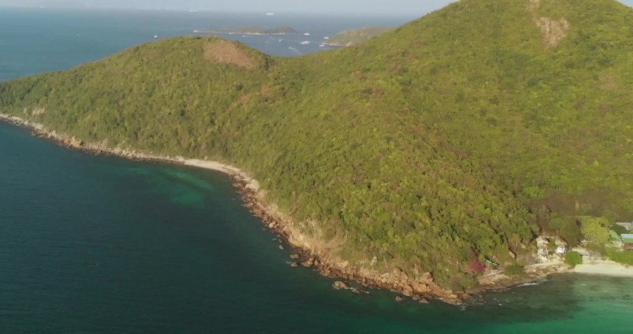 Areal view over Ko Lan island near Pattaya in Thailand Royalty-Free Stock Footage #1064421829