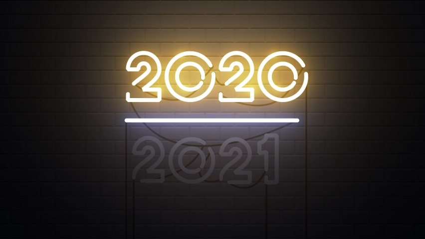 2020-2021 change Happy New Year 2021 neon sign background new year resolution concept | Shutterstock HD Video #1064431384