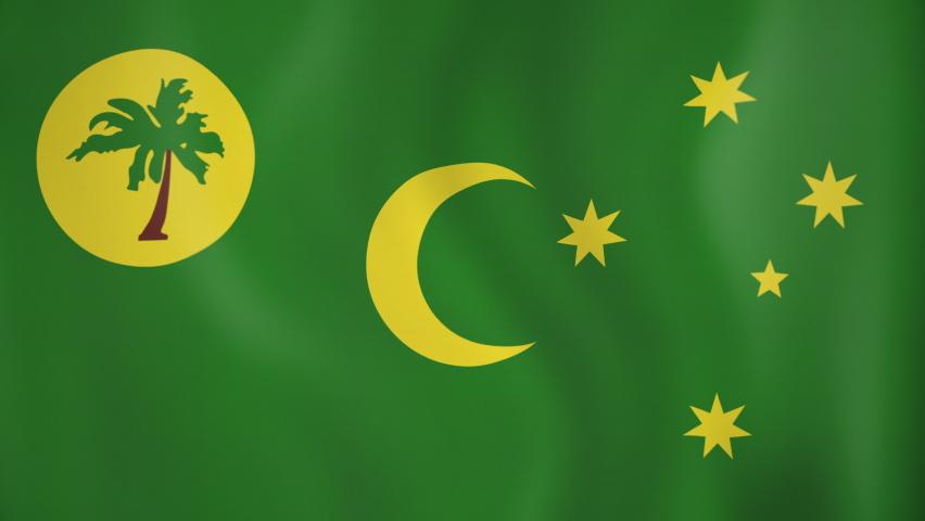 Cocos Islands animated flag. Seamless loop. 4K