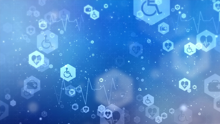Abstract medical Loop background animation with flat icons and symbols. Idea for health care technology, innovation medicine, health, science and research healthcare technology, innovation health.