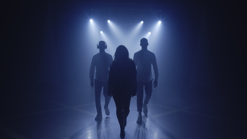 Backlit silhouettes of singer vocalist girl, saxophonist sax, dj man walking forward in dark musician nightclub disco for starting concert on stage. Light appears and illuminates musical group band Royalty-Free Stock Footage #1064600116