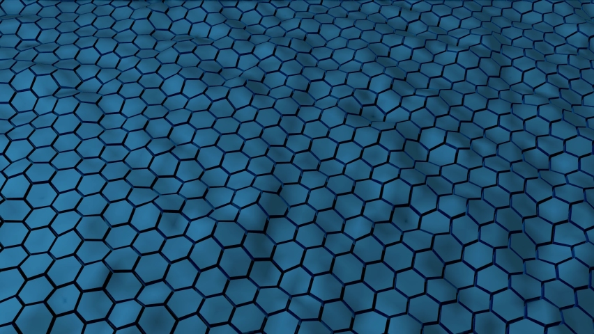 Abstract blue hexagonal geometry patterns with six sided polygon and with smooth wavy motion effects. Abstract trendy background for business and technology, 4k High Quality,3D animation, 3D render.