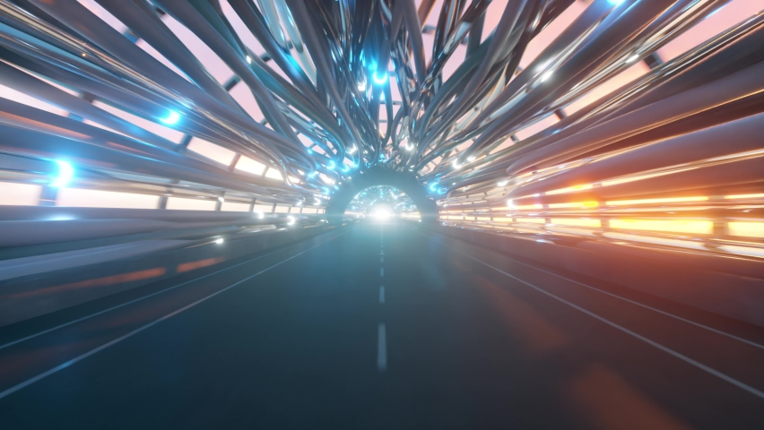 Flying in a futuristic fiber optic tunnel with a road. Future technologies concept. Business background. Pleasant natural lighting. Seamless loop 3d render | Shutterstock HD Video #1064623081