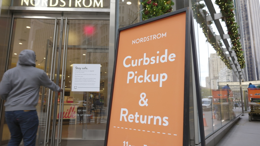 NEW YORK CITY, NY - NOVEMBER 22: Nordstrom entrance with curbside pickup during pandemic on November 22, 2020 in NYC, New York.