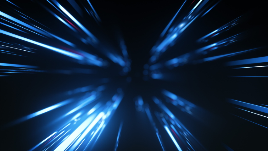High Speed Flying Lines 3d Animation in Seamless Looping Traffic. Sci-fi Digital Footage Electric Move of Dynamic Streaks in Dark Backdrop. Neon Glowing Rays of Hyperspace in Time Travel Illustration Royalty-Free Stock Footage #1064652856