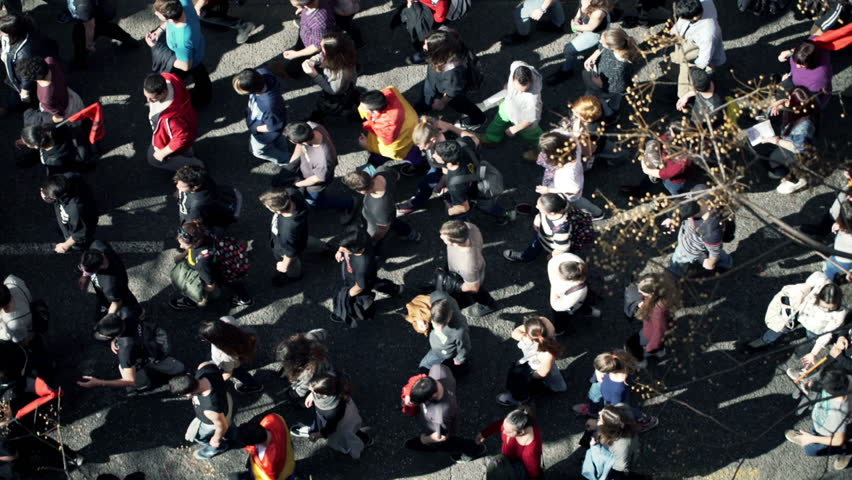 Protesting people walking through city, top view    Shutterstock HD Video #10646942