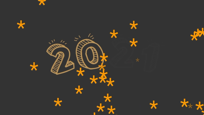 Black background with yellow welcome 2021 writing and falling golden stars | Shutterstock HD Video #1064694799