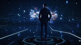 Virtual Reality Internet Interface Concept: Businessman Stands in 3D Cyberspace World: Browses Through Content Websites, Watches Video Streaming Services, uses Social Media, does e-Commerce e-Business