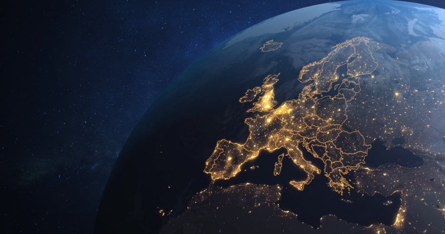 Planet Earth from Space EU European Countries highlighted, state borders and counties animation, city lights,