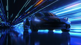 3D Car Model: Sports Car Driving at on a Wet Road on High Speed, Racing Through the Colorful Tunnel With Lights Reflecting Everywhere. Dark Supercar Driving Fast on Highway. VFX Animation. Arc Shot
