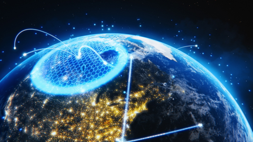 3D Graphics Concept: Spinning Earth Seen from Space Virtual Digitalization Network Covering Planet, Sharing Rays of Information Between Cities. Global Data Grid Connecting the Whole World. Zoom out   Shutterstock HD Video #1064798299