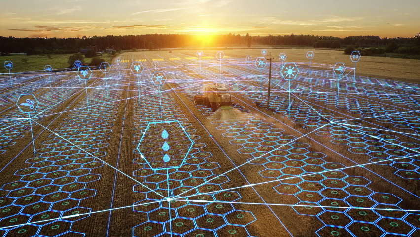 Aerial Shot: Harvester Working on Field. Digitalization of the Crops Growing Efficiency with AI Data Analysis Icons. Futuristic Agriculture Concept of Computerized, Eco, Sustainable way of Harvesting Royalty-Free Stock Footage #1064799127