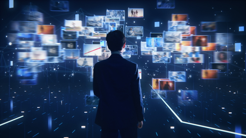 Virtual Reality Internet Interface Concept: Asian Businessman Uses Smartphone in 3D Cyberspace: Browses Through Websites, Watches Video Streaming Services, uses Social Media, does e-Commerce | Shutterstock HD Video #1064809432
