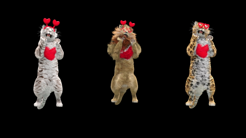 Happy valentines day, character 3d rendering, White Tiger, Lion, Leopard Dancing, Animation Loop, cartoon, Included in the end of the clip with Alpha matte.  | Shutterstock HD Video #1064811631