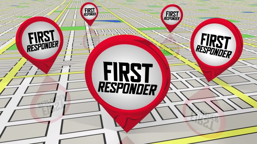 First Responders Map Pins Locations Emergency Sites Help Needed 3d Animation