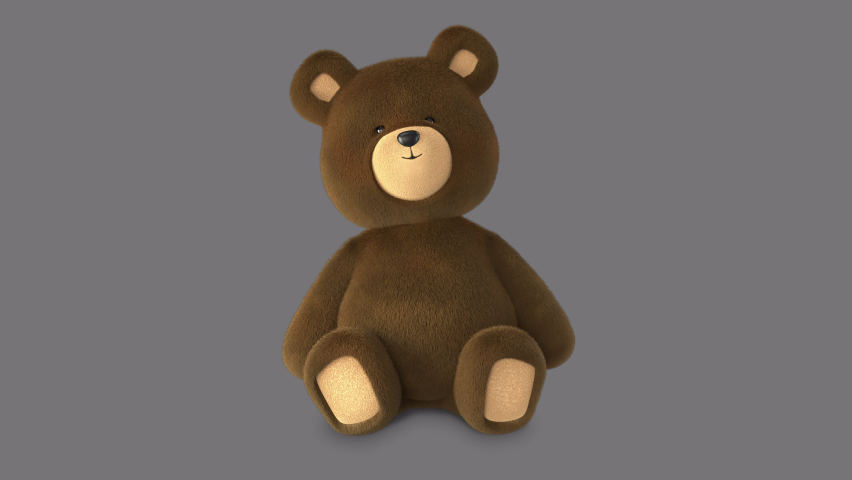 3D Animated Brown Teddy Bear, Seated waving animation. This animation is looped with a transparent background alpha channel, add any background!  Realistic fluffy fur, cute teddy 3D character. Royalty-Free Stock Footage #1064888683