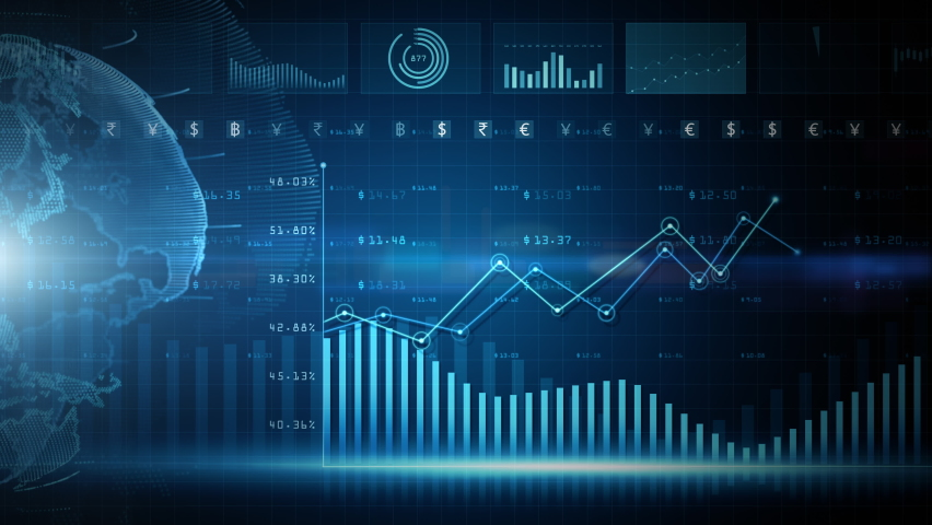 Digital data financial investment trends, Financial business diagram with charts and stock numbers showing profits and losses over time dynamically, Business and finance background 4K animation Royalty-Free Stock Footage #1064898946