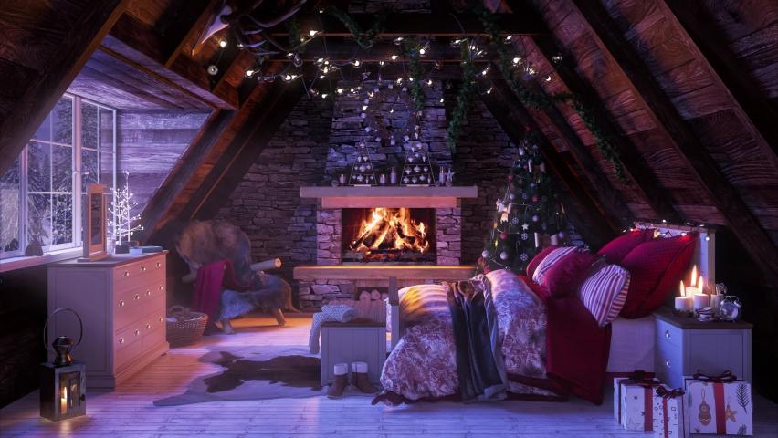 Cozy fireplace at home. Snowfall winter season outdoor environment 4K loop video footage screensaver   Shutterstock HD Video #1064917612