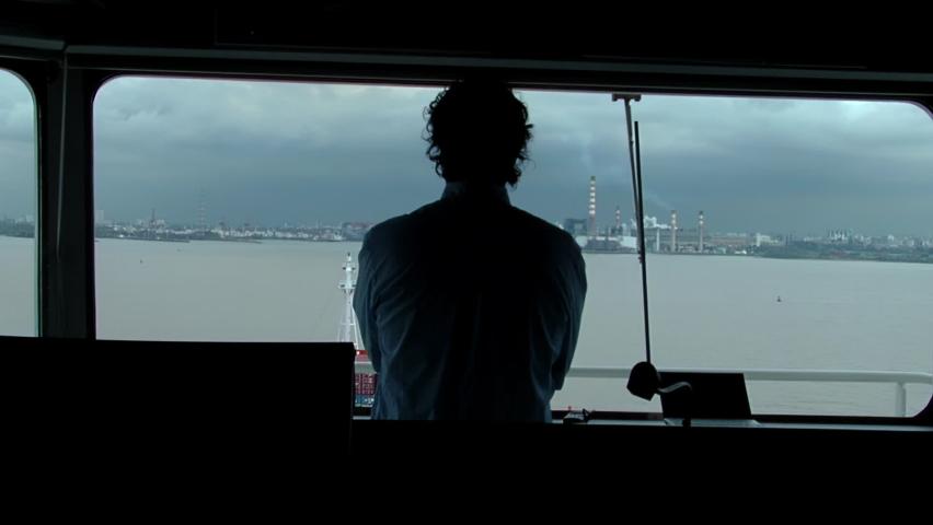 Harbor Pilot on Board a Container Ship on the Rio de la Plata River, near Buenos Aires, Argentina.