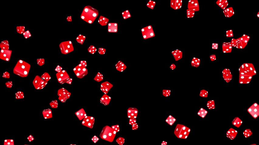 Red Casino Dices Rolling on the Black Loop background. 3d Playing Game with dice. Casino Dice Rolls. Green Screen. Gambling, Chips, Jackpot, Poker, Las Vegas, Game, Money, Roll, Cube, Betting,