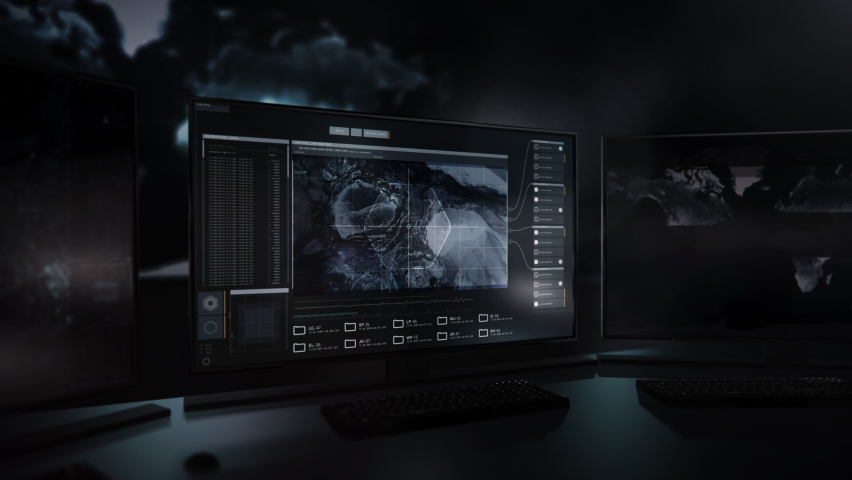 Three computer Screens. The newest Spying system. Scanning the world in search of nuclear weapons. Location Track. Radar Data. Satellite footage is showing the desert in Syria. User Interface. | Shutterstock HD Video #1065016144
