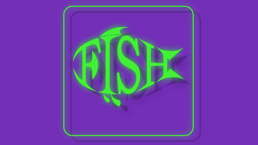 Icon for cafe, fast food cafe from contours on uv background fish typography   Shutterstock HD Video #1065108247
