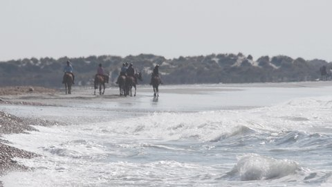 horsemen on the beach of Saint Marie de la Mer,  France