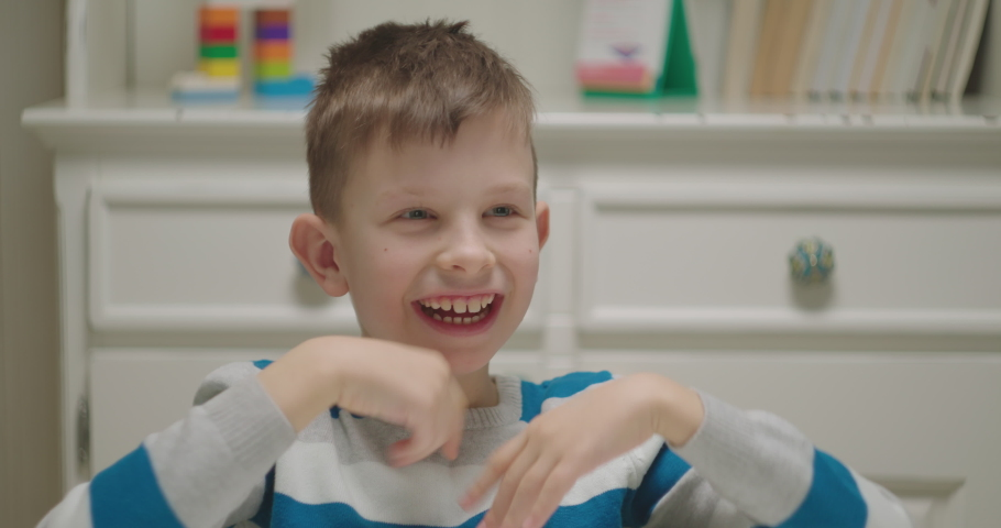 Portrait of child with autism. Boy with autism spectrum disorder. Royalty-Free Stock Footage #1065123391