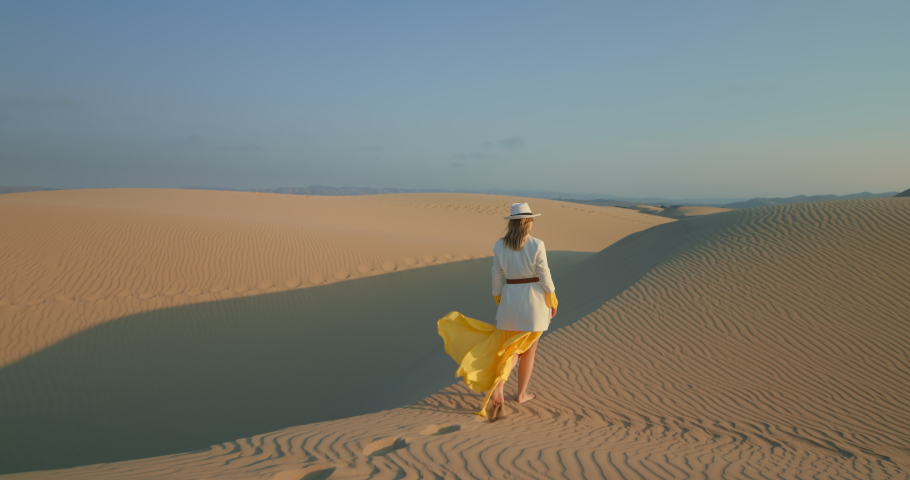 Back view of fashionable girl walking barefoot in desert alone. Young woman making footprintings on sand in slow motion. Female tourist looking wild desert landscape, 4k footage | Shutterstock HD Video #1065147100