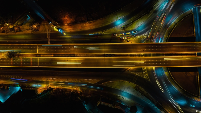 Time lapse expressway top view, Circl Road traffic an important infrastructure in Bangkok Thailand | Shutterstock HD Video #1065224266