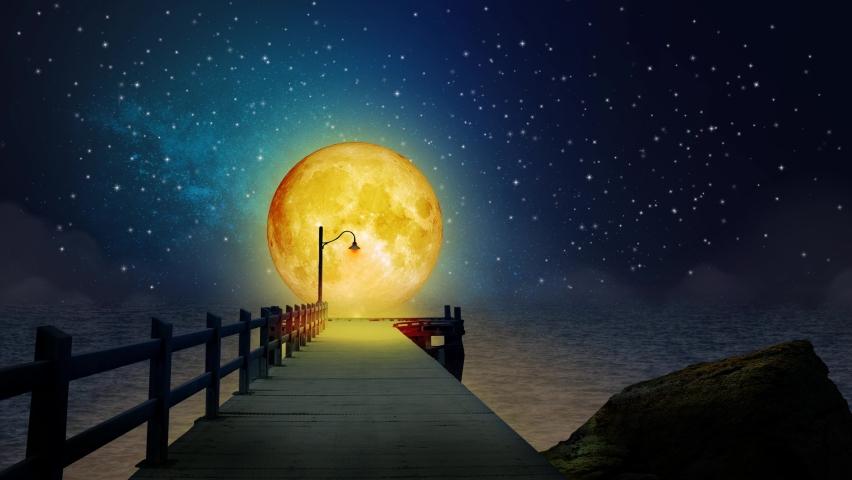 Beautiful yellow moon in lake, night sky, night fantasy, loop animation background. | Shutterstock HD Video #1065264742