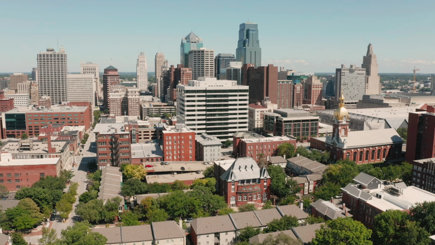 Over Downtown City Skyline Kansas City Missouri