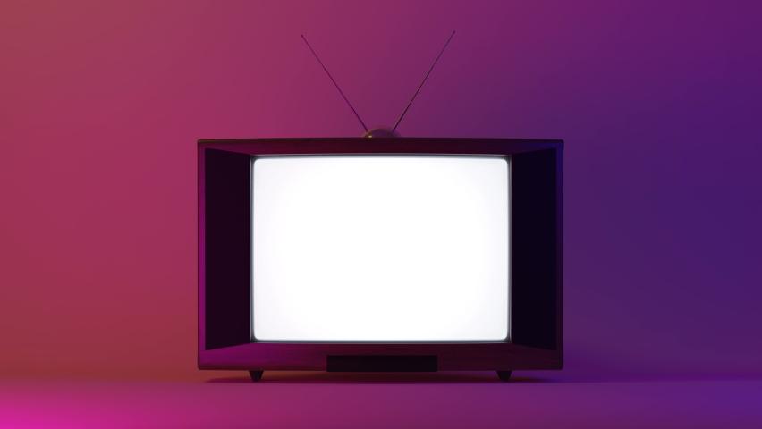 Vintage tv receiver on dark background. 3d animation with luma matte, 4k   Shutterstock HD Video #1065308299