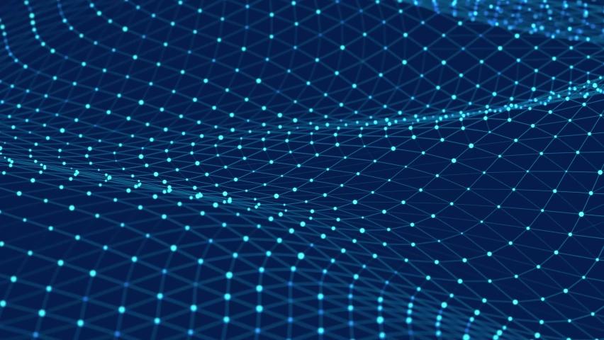 Dynamic wave. Digital technology background. Big data visualization. 3d rendering. Seamless loop. 4k Royalty-Free Stock Footage #1065312874
