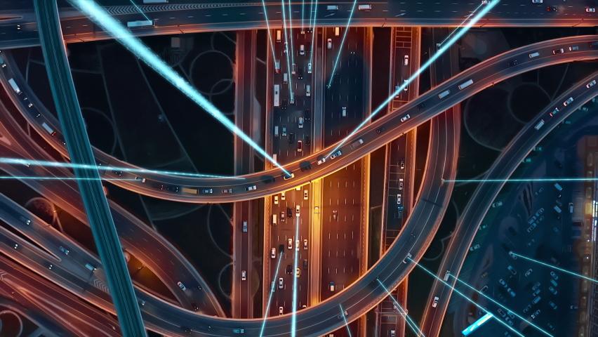 Autonomous Vehicles Cars Next Generation GPS Satellite Connection 5G Smart City Traffic Junction Highway Establishing Connection With Satellites Information Beams Transportation Communication Network. | Shutterstock HD Video #1065327811