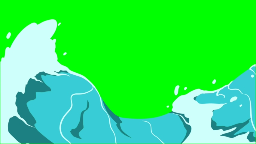 Animated waves, green screen background
