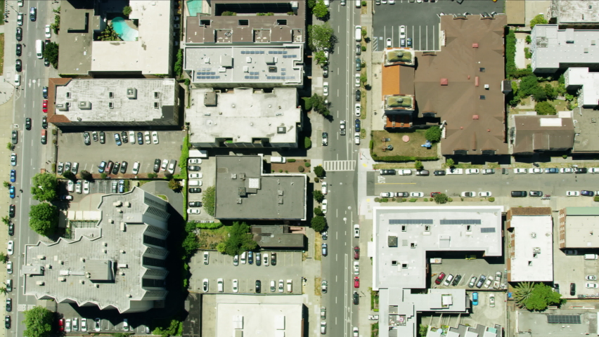 Aerial view overhead of Oakland California painted slogan Black Lives Matter after death of George Floyd quiet streets shops closed due to Coronavirus pandemic