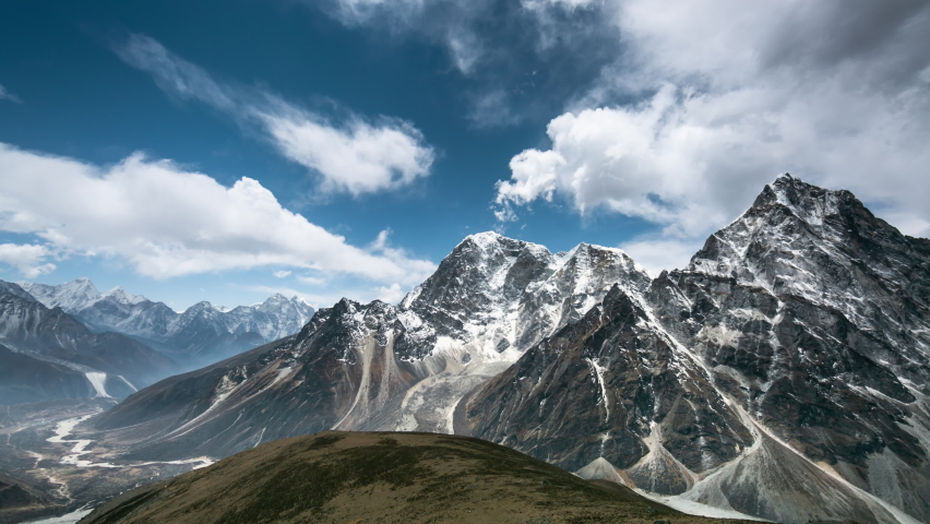 4k Timelapse, View of the magical Himalayas (Ama Dablam view, from Awi peak, 5200 m). Awi peak is a part of Everest Base Camp trek, one of the most popular trekking routes in the Himalayas. Royalty-Free Stock Footage #1065375628