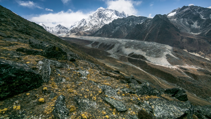 4k Timelapse, View of the magical Himalayas (EBC and Khumbu glacier view from Awi peak, 5200 m). Awi peak is a part of Everest Base Camp trek, one of the most popular trekking routes in the Himalayas. Royalty-Free Stock Footage #1065375637