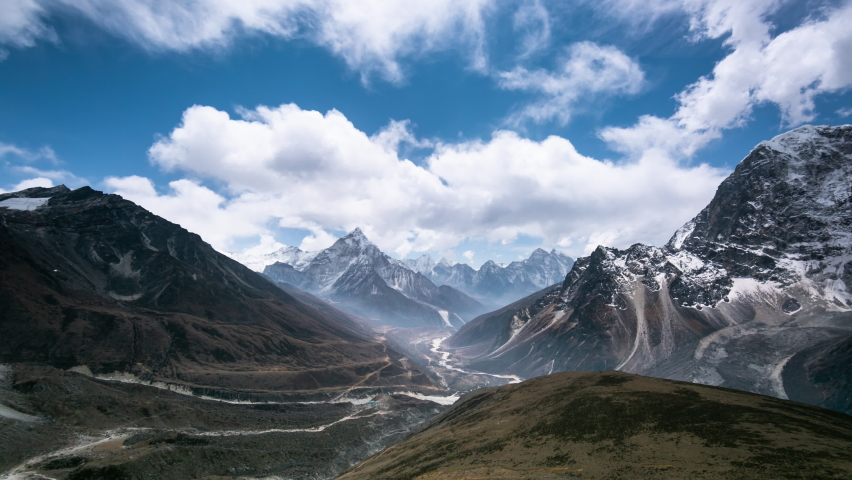 4k Timelapse, View of the magical Himalayas (Ama Dablam view, from Awi peak, 5200 m). Awi peak is a part of Everest Base Camp trek, one of the most popular trekking routes in the Himalayas. Royalty-Free Stock Footage #1065376015